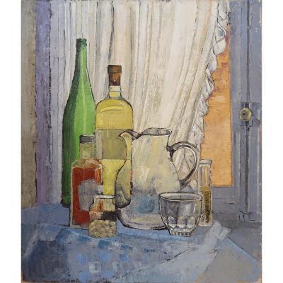 Nature Morte Peinture Sur Toile - Victor Petré - Belgique Circa 1960