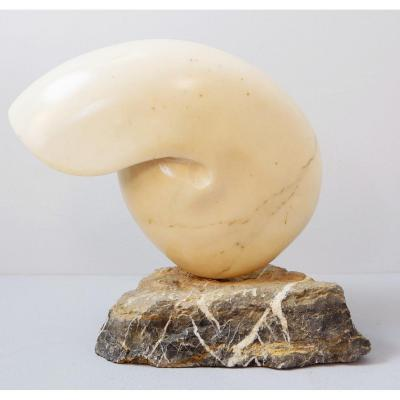 Nautilus Marble Shell Sculpture - Signed