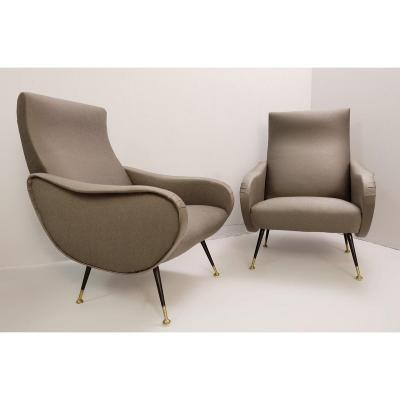 Pair Of Italian Armchairs In The Style Of Marco Zanuso - New Graphite Gray Coating