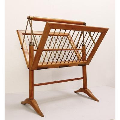 Magazine Rack In Wood And Brass By Cesare Lacca, 1950s