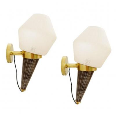 Pair Of Italian Torch Wall Lights In Brass And Glass