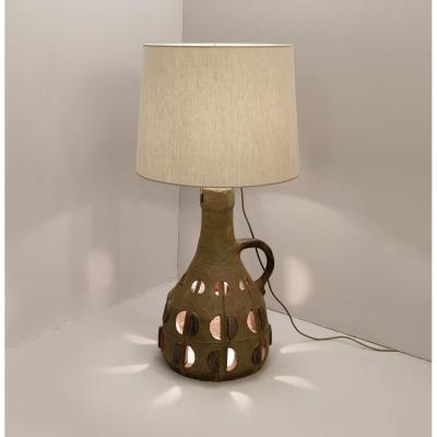 Enamelled And Openwork Ceramic Table Lamp