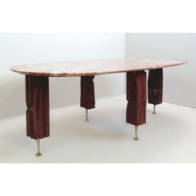 Yasuo Fuke Coffee Table In Wood And Marble Top