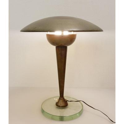 Lampe De Bureau En Laiton Et Verre De Stilnovo - 1950