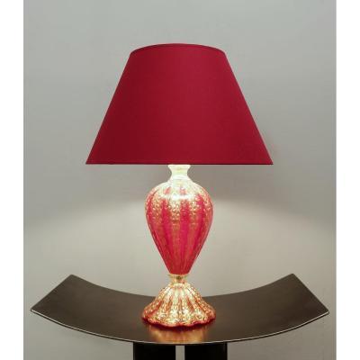 Lampe De Table Barovier & Toso En Verre De Murano Rouge Et Or - 1950