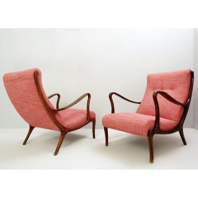 Paire De Fauteuils Lounge Par Ezio Longhi - 1950, Revêtement Neuf