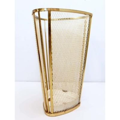 Umbrella Stand Elements In Brass And Perforated Cream In Painted Steel - Italy 1960s