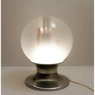 Globe En Verre De Murano Et Table En Cuivre Par Angelo Brotto Lampe De Table Années 60