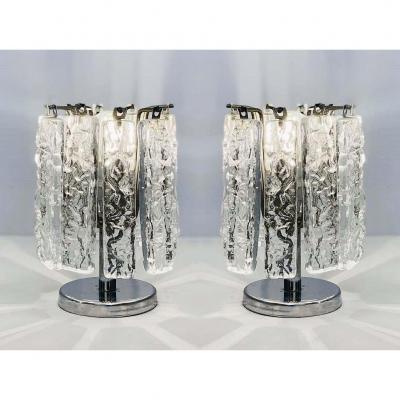 Paire De Petites Lampes De Table Attribuées à Venini, Vers 1960