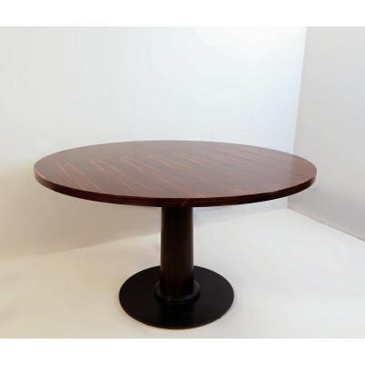 Round Macassar Ebony Dining Table Ø 128 Cm
