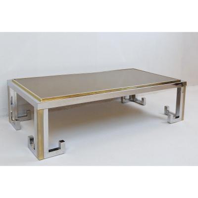 Table Basse En Chrome Et Laiton Avec Plateau Miroir Fumé