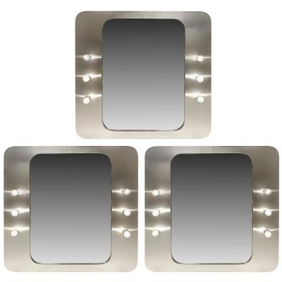 Aluminum Vanity Mirrors With Bulbs, 1970s - 3 Available