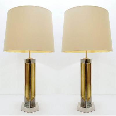 Paire De Grandes Lampes De Bureau En Chrome Et Laiton