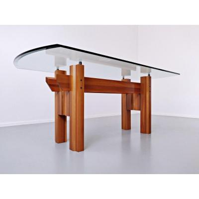 Italian Dining Table, Wood And Glass Top By Franco Poli For Bernini C.1979