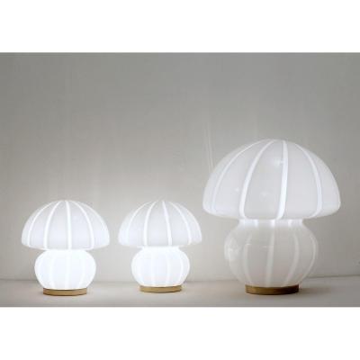 Lot De 3 Lampes De Table Champignon En Verre De Murano