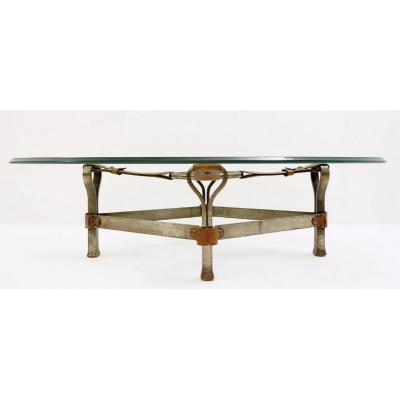Table Basse Brutaliste Par Jacques Adnet, 1960s