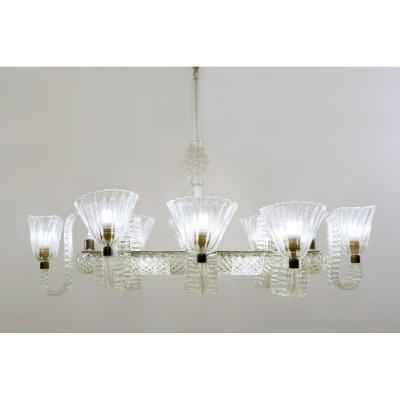Eight Armed Ercole Barovier Chandelier - Italy 1940