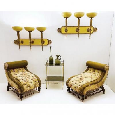 Pairs Of Art Deco Wall Lights - Circa 1940 - 2 Pairs Available