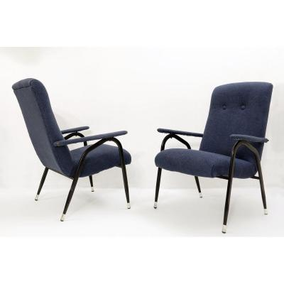 Paire De Fauteuils Italiens Avec Structure En Métal Noir Et Revêtement Bleu Neuf