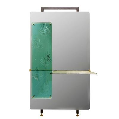 Miroir Console Avec Panneau Décoratif En Cristal Gravé Végétal Vert - Plateau Cristal Vert