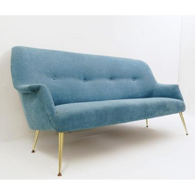 Italian Sofa With New Turquoise Upholstery