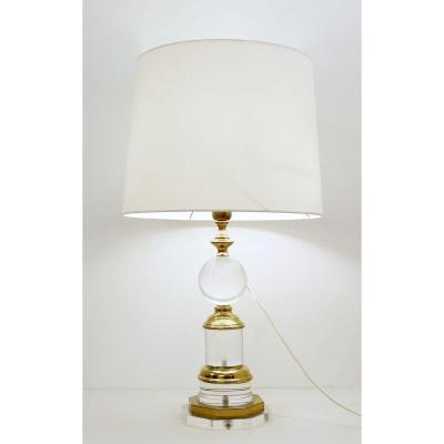 Lampe De Table Et Laiton Et Lucite - 3 Ampoules