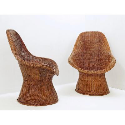 Pair Of Wicker Armchairs