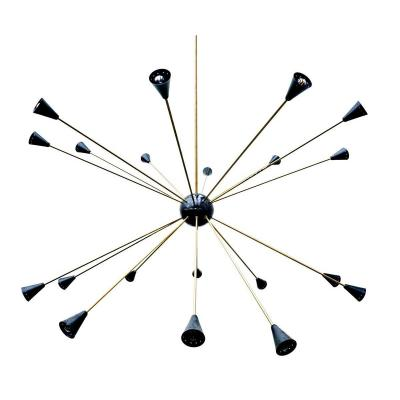 Large Sputnik Ceiling Lamp In Metal And Brass 1960s