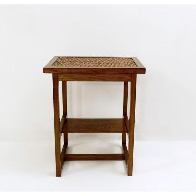 Table In Elm And Braided Cane Prag-rudniker Austria