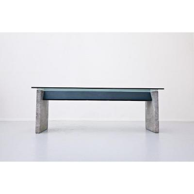 Dining Table In Marble, Steel And Lazzotti Glass For Up & Up