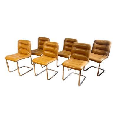 Ensemble De 6 Chaises En Vinyle Brun, Pieds Chromés, 1960s