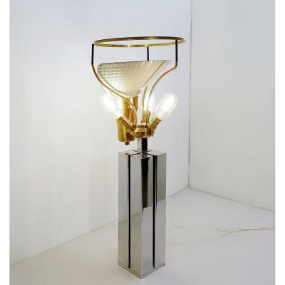 Lampe De Table En Chrome Et Laiton De La Maison Malabert  1930s -  Diffuseur En Verre églomisé