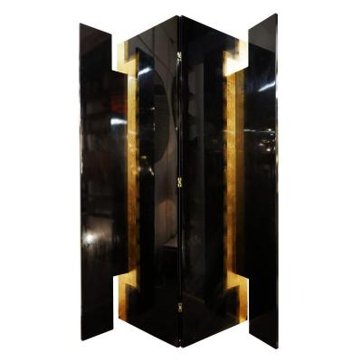 Screen 4 Panels Pacific Compagnie - In Black Lacquered Wood And Golden Leaves