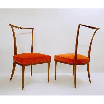 Chaises à Dîner d'André Arbus, Nouveau Revêtement En Velours Orange - France 1940s