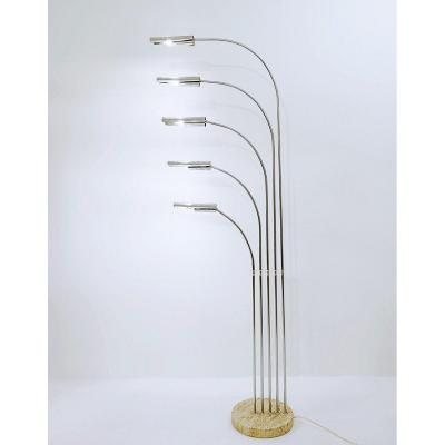 5-arm Floor Lamp In Chrome And Travertine