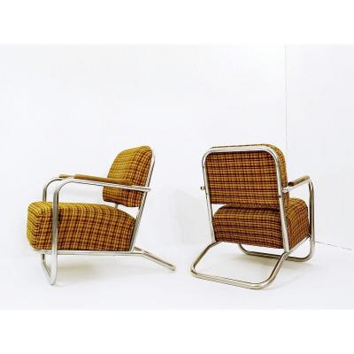 Pair Of Bauhaus Armchairs Attributed To Hynek Gottwald - 1930s