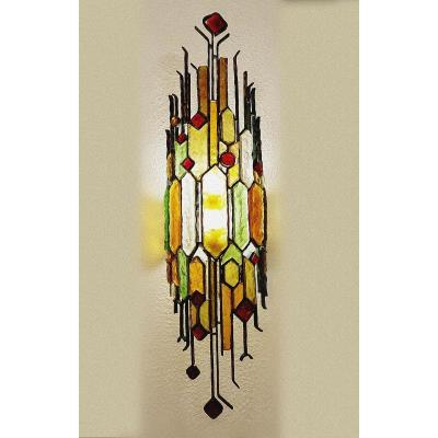 Brutalist Wall Lamp In Wrought Iron And Hammered Glass