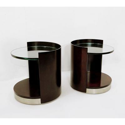 Paire De Tables d'Appoint en bois foncé et en verre