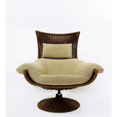 Chaise Lounge En Osier De Gerard Van Den Berg Pour Montis - 1970s, Pays-bas