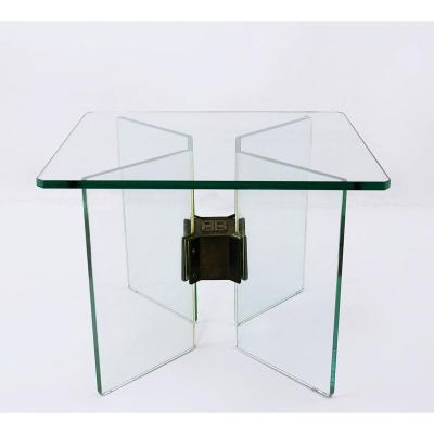 Table d'Appoint En Verre Et Laiton Par Peter Ghyczy, 1970s