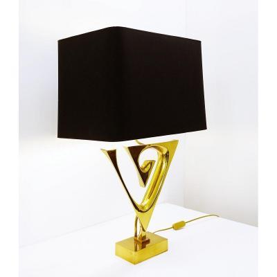 Willy Daro Brass Lamp - Belgium 1970s
