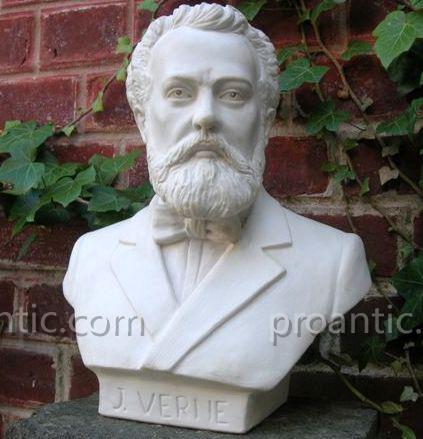 Jules Verne buste en marbre blanc, Nantes-Amiens