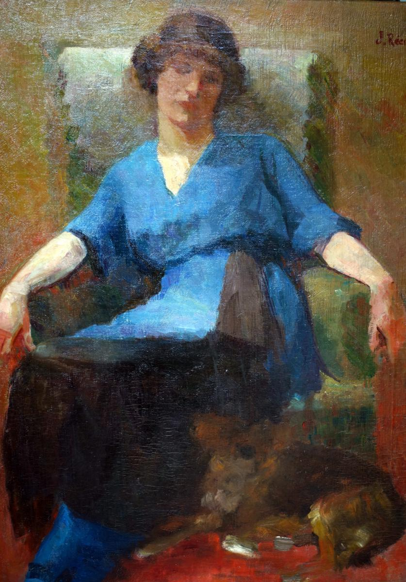 Jules Récubert Barjols portrait de femme et son chien