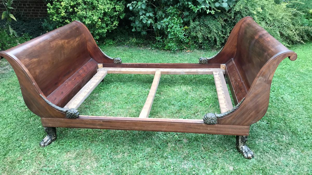 Large Middle Bed Period Empire Stamped Chapuis Mahogany