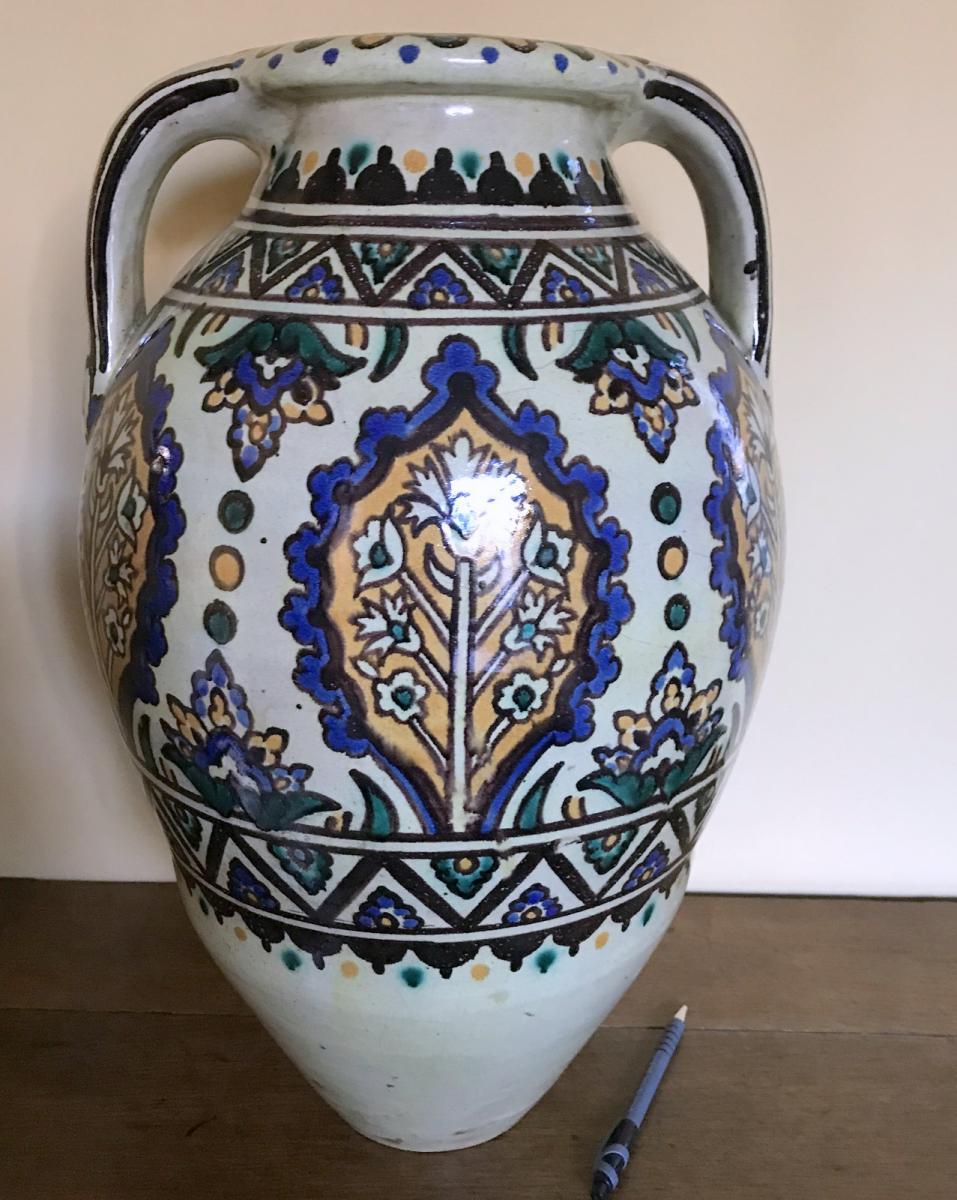 Grand Vase Tunisie Ateliers De Verclos à Nabeul, Riche Décor Polychrome Début XXème