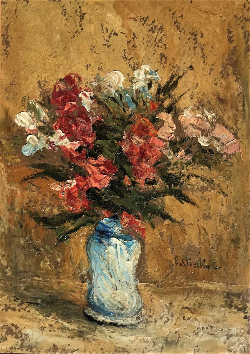 Flowers In A Vase, Oil On Panel E Viallate Twentieth