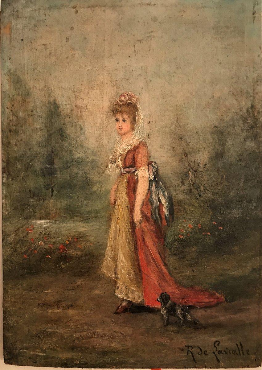 Elégante au chien R de Lavialle XIXème