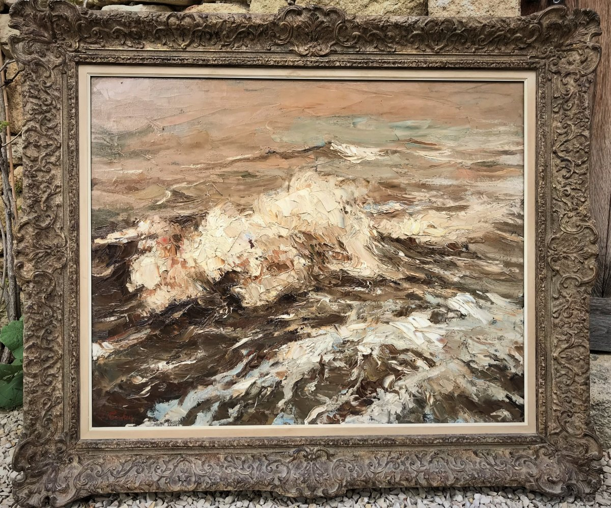 "Albert Terken: Large Marine ""the Waves"" Brittany Or The North Sea"