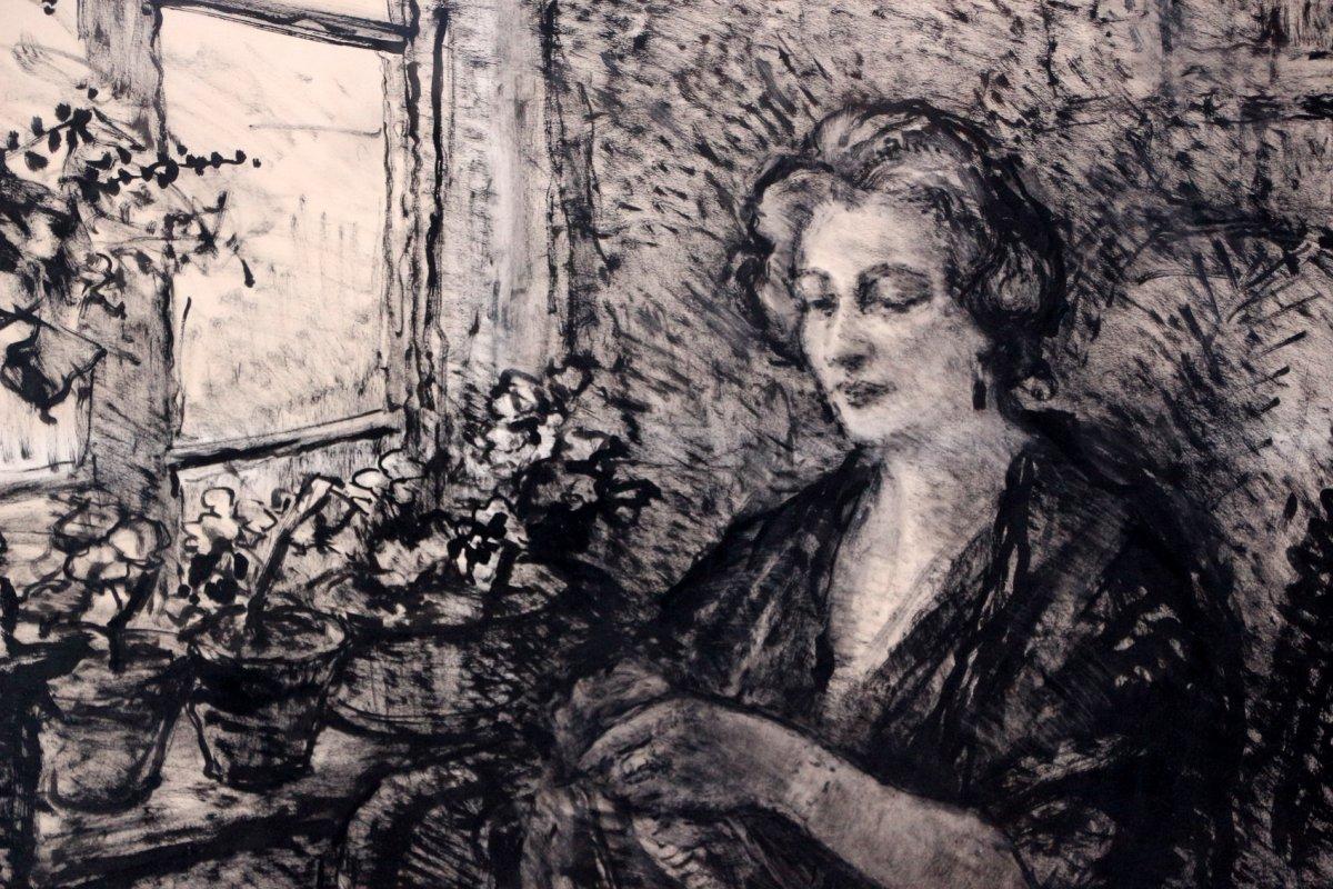 Demeurisse: Woman Sitting Near Window, Ink-photo-1