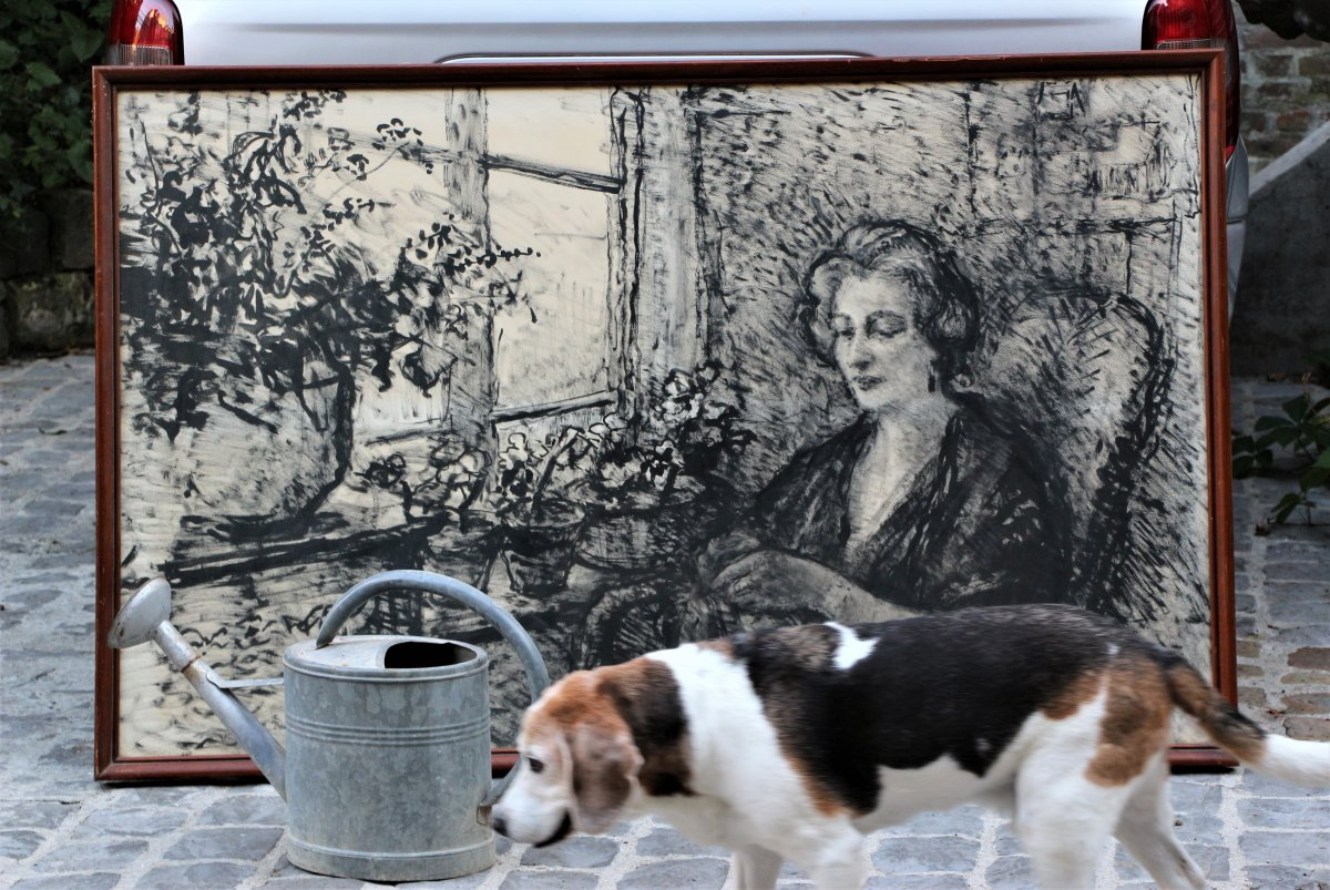 Demeurisse: Woman Sitting Near Window, Ink-photo-2